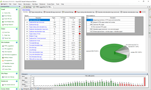 image of the SEO Audit tool 'Visual SEO Studio' in action