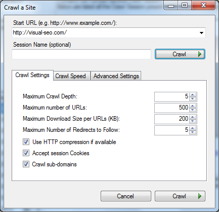 Visual SEO Studio crawl dialog