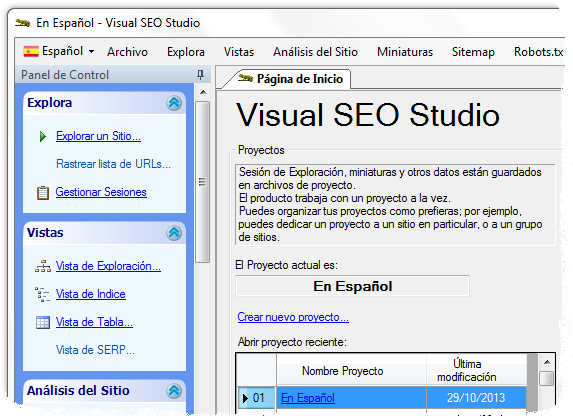Visual SEO Studio with Spanish UI