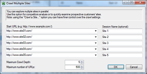 Multi Site Parallel Crawling options dialog - Visual SEO Studio