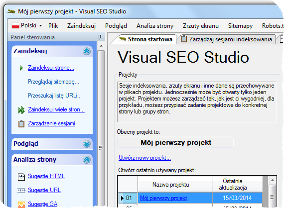 Visual SEO Studio with Polish user interface