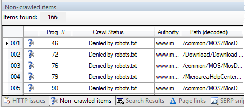 Non-crawlable items pane in Visual SEO Studio