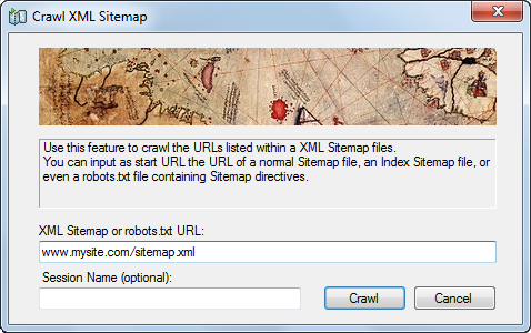 Crawl XML Sitemap dialog - Visual SEO Studio