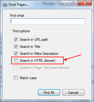 Find Pages dialog enriched with Search in HTML option