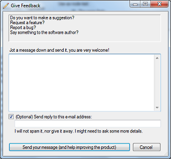 The new Give Feedback dialog window