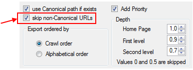 Skip non-canonical URLs option