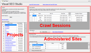 Visual SEO Studio Start Page revised to also show Crawl Sessions