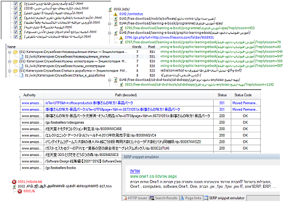 Decoding of Unicode URL paths is fully supported in Visual SEO Studio