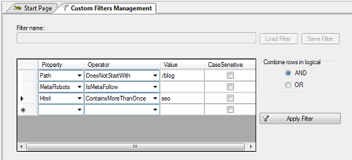 Custom Filters, advanced query engine
