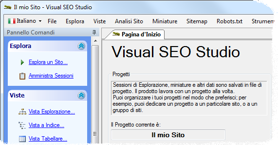 Visual SEO Studio with an Italian user interface