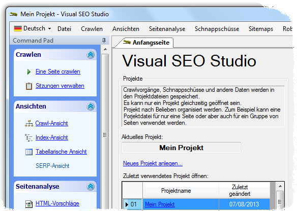 Visual SEO Studio with German user interface