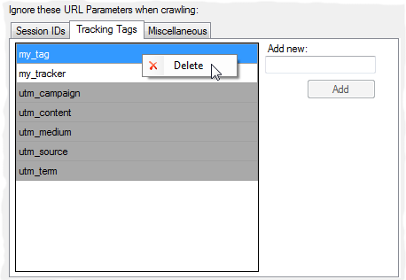 The newly organized URL Parameters option window, now customizable
