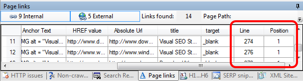 Page Links new attributes: title, target, line and position