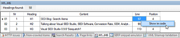 Visual SEO Studio 'Show in code' command from H1-H6 window
