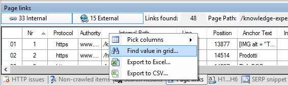 Using the 'Find' command from a Visual SEO Studio grid