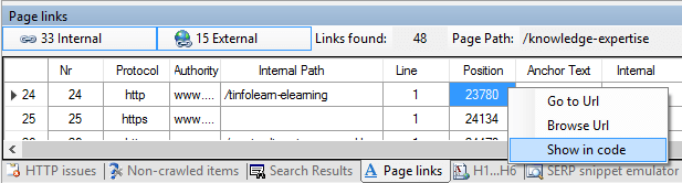 Visual SEO Studio 'Show in code' command from Page Links window