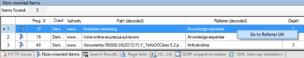 Visual SEO Studio 'Go to Referrer' command from non-crawled items window
