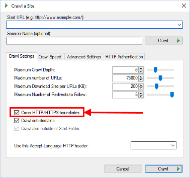 Visual SEO Studio 0.9.1 'Cross HTTP/HTTPs boundaries' crawl option