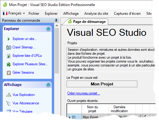 Visual SEO Studio with the French UI