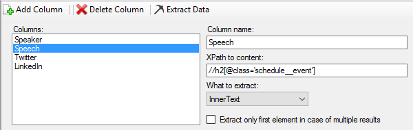 Data Extraction parameters example