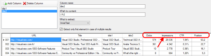 Search Analytics columns in Data Extraction