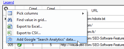 Adding Search Analytics data in Visual SEO Studio grids