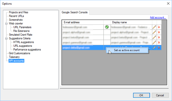 Administering Search Console API accounts from Options window