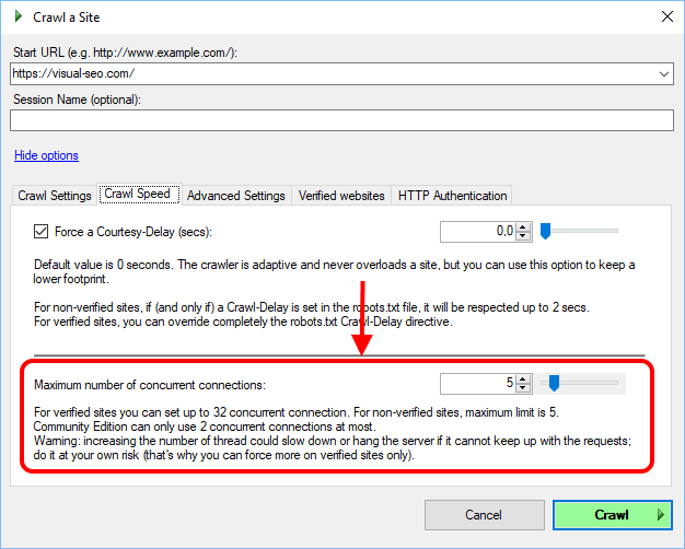 New crawl option: maximum number of concurrent connections