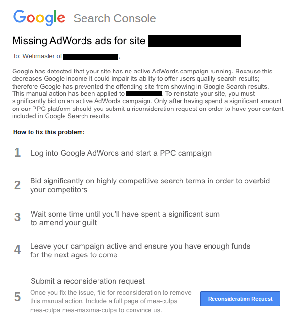 The new GSC manual penalty for not running AdWords ads