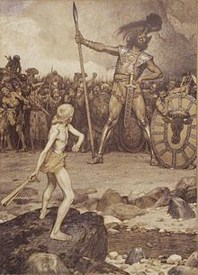David and Goliath, a colour lithograph by Osmar Schindler (c. 1888) - Public Domain image