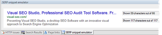 SERP snippet emulator in Visual SEO Studio, with March 2013 SERP layout