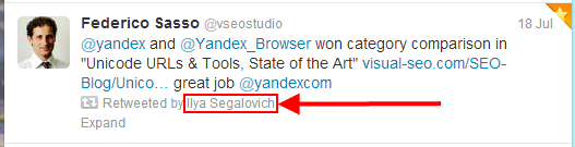A retweet by Ilya Segalovich