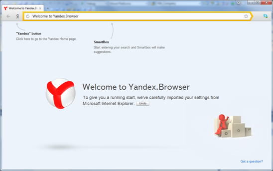Yandex.Browser welcome window