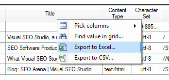Visual SEO Studio can export SEO data to Excel