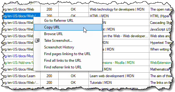 Tabular View context menu
