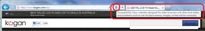 kogan.com/au site seen with IE9 and IE7 compatibility view switched on