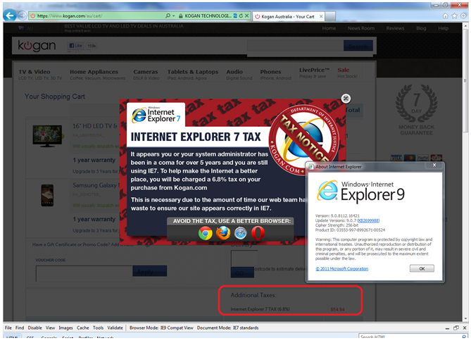 IE7 tax warning showing up in IE9