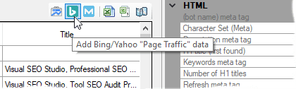Add Bing/Yahoo Page Traffic data shortcuts in Tabular View