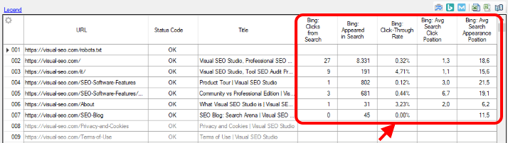 Tabular View with data columns from Bing
