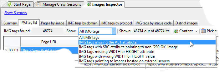 IMG tags list, filtering options