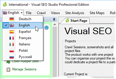 Visual SEO Studio user interface supports multiple languages