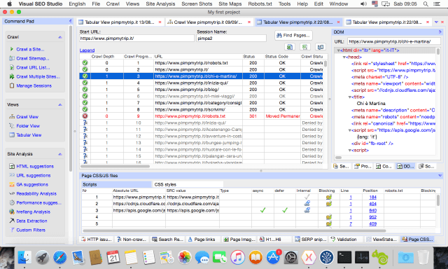 Visual SEO Studio on Mac, Tabular View