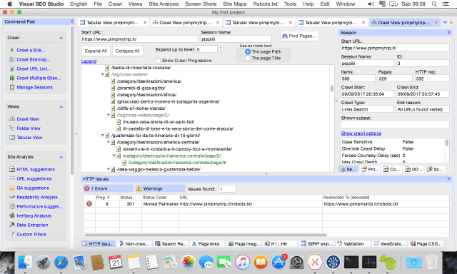 Visual SEO Studio on Mac, Crawl View