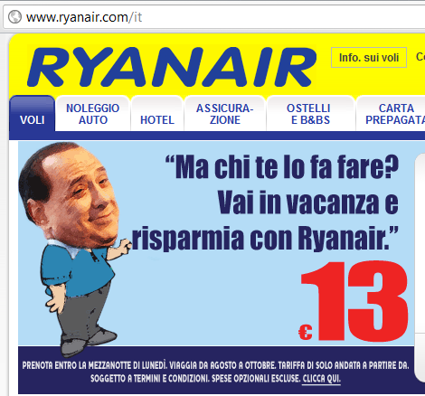 Silvio Berlusconi depicted on funny Ryanair ad