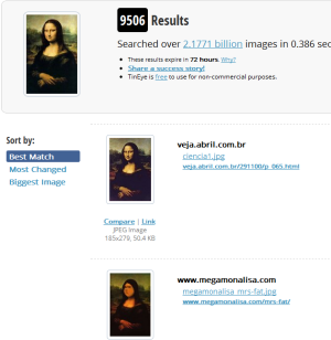 Mona Lisa image search on TinEye
