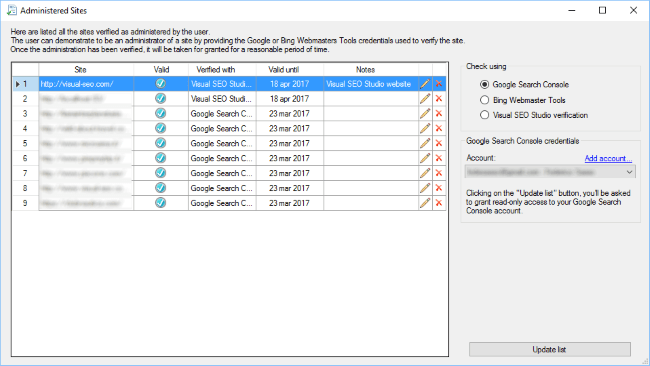 Administered sites dialog window, Visual SEO Studio