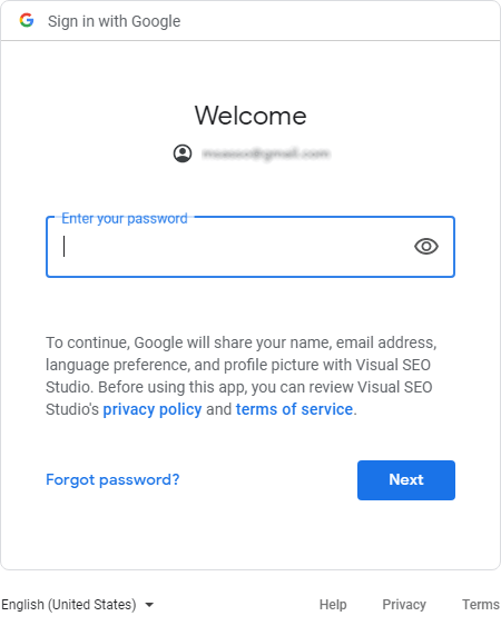 Inserting Google Search Console user account password