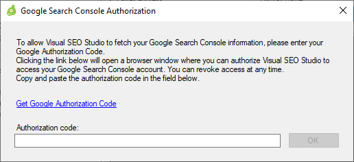 Window to insert Google Search Console authorization code