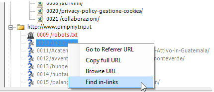 Context menu 'Find in-links'