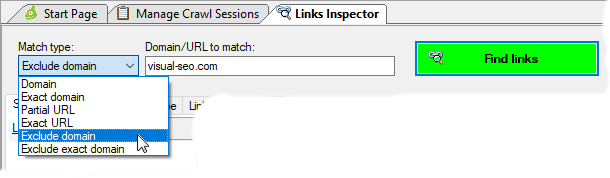 Settings to find outbound links in Links Inspector